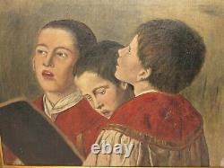 06f6 Hst Old Oil On Canvas Painting Children Chur Religion Nineteenth