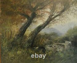 2960 Barbizon School Oil On Canvas Forest, Signed Henry, Old Canvas