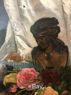 Adelaide Ballot (xix-xxth) Mondaine Allegory, 1870 Oil Painting Old On You