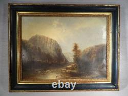 Adele Chaisemarlin Ancient Oil On Canvas Painting Landscape Riviere Boats 1878