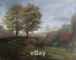 An Oil On Canvas Landscape 19th Summer Lavandières Old Table