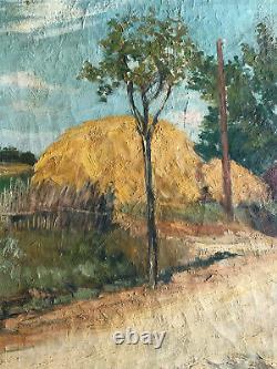 Ancienne Oil Peinture On Toile Landsage Foin Botts Debut 20th
