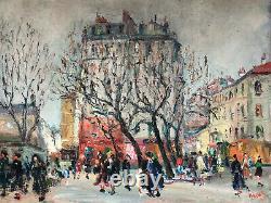 Ancienne Oil Peinture On Toile Parisian Place Animated 20th Paris
