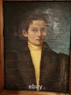 Ancient 19th Century Portrait, Oil On Canvas