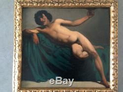 Ancient Handsome Nude Academic Male Academy Of Man XIX Oil On Canvas Painting