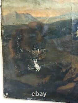 Ancient Hunting Table, Oil On Canvas, Dog Pack Facing The Wolf, 18th