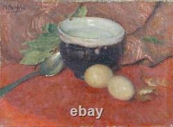 Ancient Oil On Canvas Depicting A Still Life With Eggs Signed Herfeld