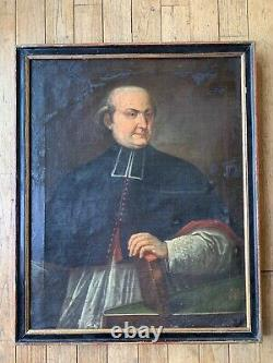 Ancient Oil On Canvas Portrait Of Chanoine In The Eighteenth Century Bible Religiosa