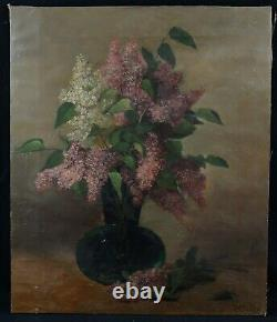 Ancient Oil On Canvas Signed 72 X 59 CM Bouquet Of Lilac Vase Of Flowers