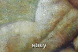 Ancient Oil On Panel Signed V. Simon Man And A Woman Naked And Entwined