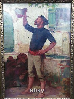 Ancient Oil Painting On Canvas Basque Or Catalan Popular Scene