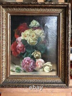 Ancient Oil Painting On Canvas Bouquet Of Flowers Signed