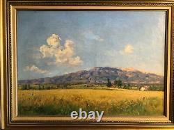 Ancient Oil Painting On Canvas Landscape Of Provence The Ventoux Joseph Garibaldi