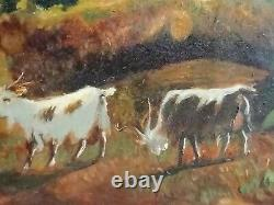 Ancient Oil Painting On Canvas Life Scene