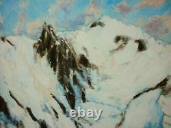 Ancient Oil Painting On Canvas Mountain Landscape Signee Greard