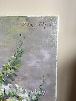 Ancient Oil Painting On Canvas Pirelli (xxe-s) Still Life With Flowers (rated)