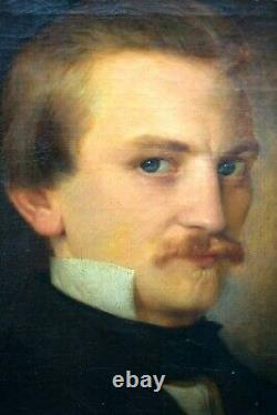 Ancient Oil Painting On Canvas Portrait Of Young Man Early 19th Romanticism