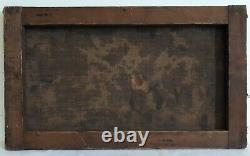 Ancient Oil Painting On Canvas Stormy Landscape Cart 19th