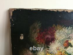 Ancient Oil Painting On Canvas Vivien (19th-s) Still Life With Flowers