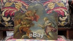 Ancient Oil Painting On Copper 17th 18th Greek Mythology Gods Hera Zeus Peacock