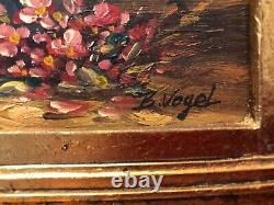 Ancient Oil Painting On Panel Flower Bouquet Signed Bernhard Vogel