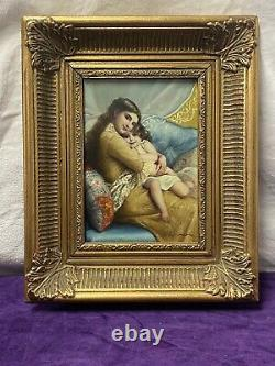 Ancient Oil Painting On Panel Portrait Mother And Girl After Émile Munier