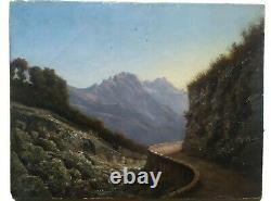 Ancient Oil Painting On Web Landscape Mountain Light Dlg Godchaux 19 Eme