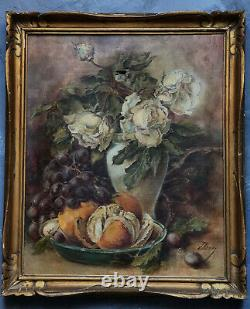 Ancient Oil Table On Dead Nature Web With Flowers And Fruit