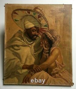 Ancient Orientalist Painting Signed, Oil On Canvas, Couple Portrait Early 20th
