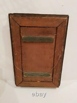Ancient Orientalist Wood Painting Early XX Century Monogrammed To Be Deciphered