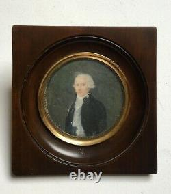 Ancient Painted Miniature, Portrait Of Man, Oil On Paper Framed, 19th