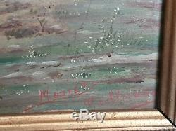 Ancient Painting Battle Scene / Oil On Panel Signed / Militaria 1870
