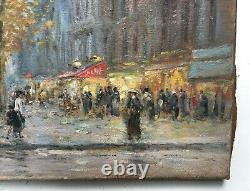 Ancient Painting By G. Roux, Oil On Canvas, Champs Elysees, Early 20th Century