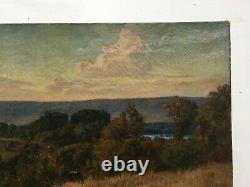 Ancient Painting By H. Havet, Oil On Canvas, Landscape, Late 19th Century
