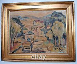 Ancient Painting By Israel Oil On Canvas, Landscape North Of Israel, Early 20th Century