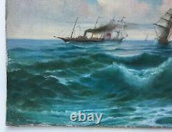 Ancient Painting By Kolliker Oil On Canvas, Marine, Boats, Early 20th Century
