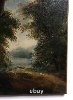 Ancient Painting By R. Westall, Oil On Canvas, Landscape, Wood Path, 19th Century