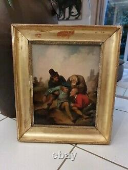 Ancient Painting, Character Group, Oil On Canvas, 19th Century