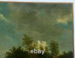 Ancient Painting Dated 1862, Oil On Canvas, Animated Landscape Shepherd Couple, 19th