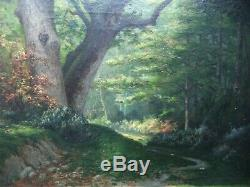 Ancient Painting Hst Oil On Canvas Signed French Barbizon 1878 Antique