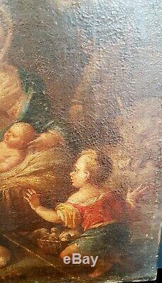 Ancient Painting Of Worship Bergers XVII Century Oil On Canvas
