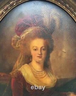 Ancient Painting, Oil On Bulging Oval Panel, Portrait Of Woman, Frame, 19th