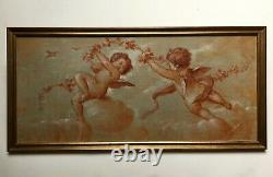 Ancient Painting, Oil On Canvas, Angelots, Putti, Early 20th Century