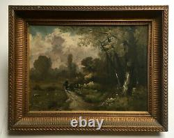 Ancient Painting, Oil On Canvas, Animated Landscape, Frame, Late 19th Century