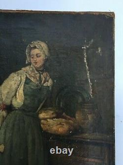 Ancient Painting, Oil On Canvas, Cook, 19th Century