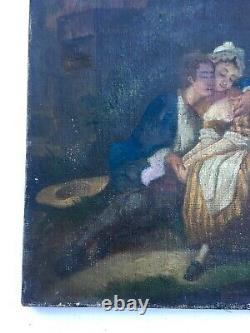 Ancient Painting, Oil On Canvas, Couple Of Lovers, 19th