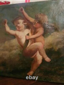 Ancient Painting, Oil On Canvas, Depicting Two Angels