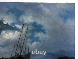 Ancient Painting, Oil On Canvas, Dutch School, Navy, Boats, Mid-19th Century
