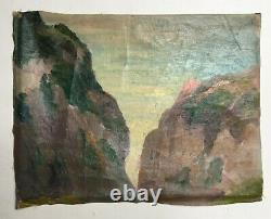 Ancient Painting, Oil On Canvas, Falaise, Rocky Coast, Brittany Early 20th Century