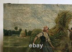 Ancient Painting, Oil On Canvas, Harvest Scene, Field Work, Early 20th Century